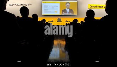 Frank Appel, CEO of Deutsche Post, speaks at the company's general meeting in the Jahrhunderthalle in Frankfurt - Stock Photo