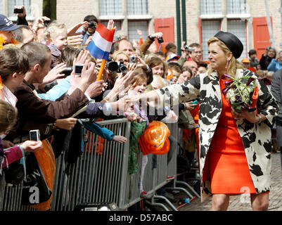 Crown Princess Maxima of the Netherlands attends the Queensday (Koninginnedag) celebrations in Wemeldinge, The Netherlands, - Stock Photo
