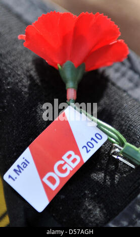 A participant of the traditional May Day campaign of the German Federation of Trade Unions (DGB) under the motto - Stock Photo