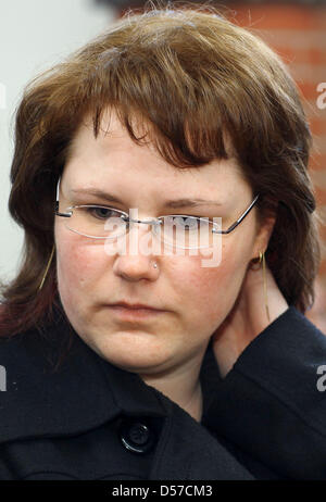 Young widow Ines S. awaits the decision of the higher regional court Rostock, Germany, 07 May 2010. In 2008, Ines - Stock Photo