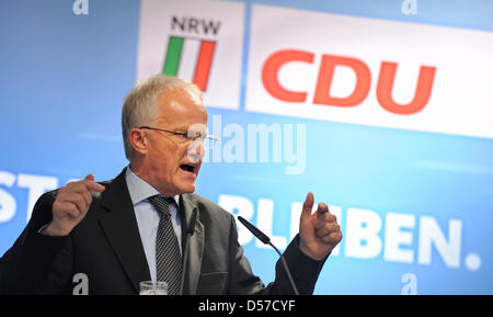 North Rhine-Westphalia's minister president Juergen Ruettgers talks during a campaign event in Duesseldorf, Germany, - Stock Photo