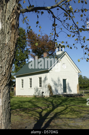 Old historic School House in Virginia, schoolhouse, one room school house, Rural  country and small town schools, - Stock Photo