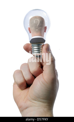 man in light bulb - creativity concept - Stock Photo