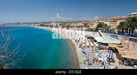 Panorama of the bay of Nice, the Promenade des Anglais (english promenade) and the beach in Nice  - Nice, France - Stock Photo