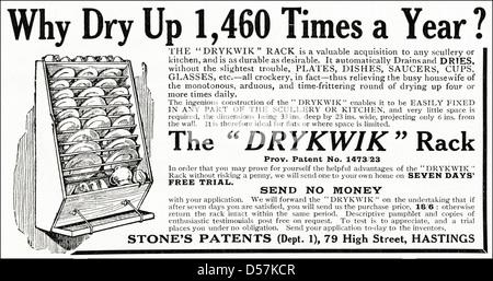 Advert advertising The Drykwik Rack for drying crockery. Original 1920s era vintage advertisement print from English - Stock Photo