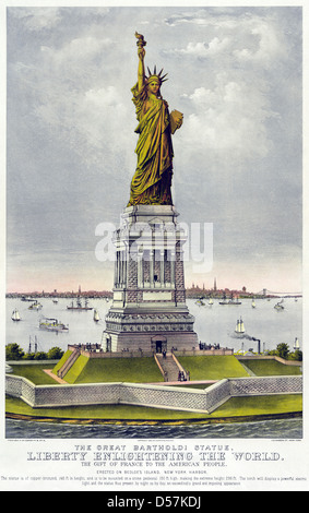 THE STATUE OF LIBERTY  1885 lithograph by US print makers Currier and Ives Stock Photo