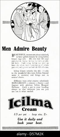 Advert advertising Icilma skin cream. Original 1920s era vintage advertisement print from English magazine. - Stock Photo