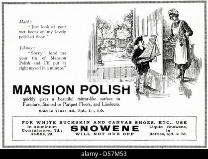 Advert advertising Mansion Polish. Original 1920s era vintage advertisement print from English magazine. - Stock Photo