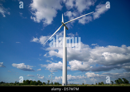 The Wolfe Island Wind Project and farms on Wolfe Island near Kingston Ontario, Canada. - Stock Photo
