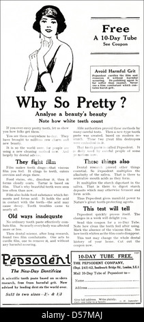 Advert advertising Pepsodent toothpaste. Original 1920s era vintage advertisement print from English magazine. - Stock Photo