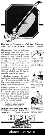 Advert advertising Hurley Thor Electric Vacuum Cleaner. Original 1920s era vintage advertisement print from English - Stock Photo