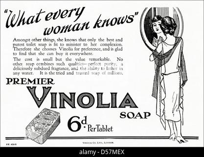 Advert advertising Vinolia soap. Original 1920s era vintage advertisement print from English magazine. - Stock Photo