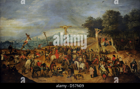 Pieter Brueghel the Younger (1564-1638). Flemish painter. The Crucifixion or The Calvary, 1617. Museum of Fine Arts. - Stock Photo