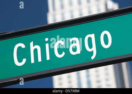 CHICAGO STREET SIGN NORTH MICHIGAN AVENUE DOWNTOWN CHICAGO ILLINOIS USA - Stock Photo