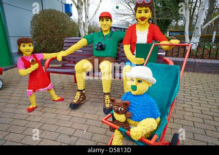 Lego family within the park Legoland Windsor UK - Stock Photo