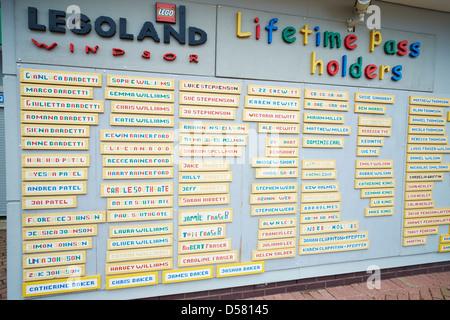List of Lifetime Pass Holders Legoland Windsor UK - Stock Photo