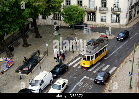 High view of a street in central Lisbon. - Stock Photo