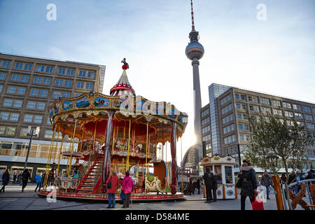 Berlin, Germany. 26th March 2013.  The traditional Easter Market has opened at Alexanderplatz in Berlin. At freezing - Stock Photo