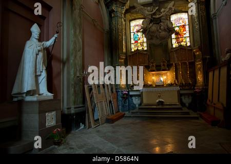 Lviv, Ukraine, a sculpture of Pope John Paul II in St. Mary's - Stock Photo