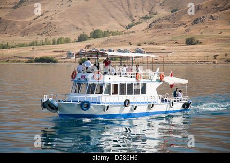 tourist boat, lake van, south-eastern anatolia, turkey, asia - Stock Photo