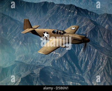 P-51 'Mustang' fighter in flight, Inglewood, Calif. The 'Mustang', built by North American Aviation, Incorporated, - Stock Photo