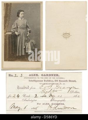 Carte De Visite Of Girl Holding Basket And Receipt From Gardner Studio