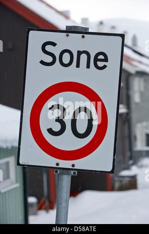 norwegian 30 kph sone zone residential low speed area honningsvag norway - Stock Photo