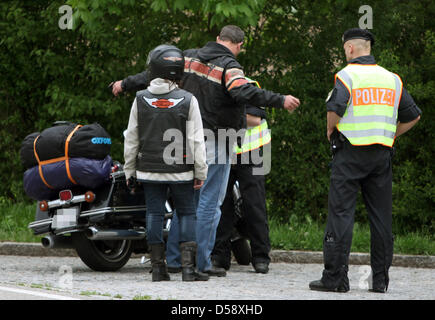 Police check members of the 'Hells Angels' motorbike gang at a rest area on autobahn A6 near Waidhaus, Germany, - Stock Photo