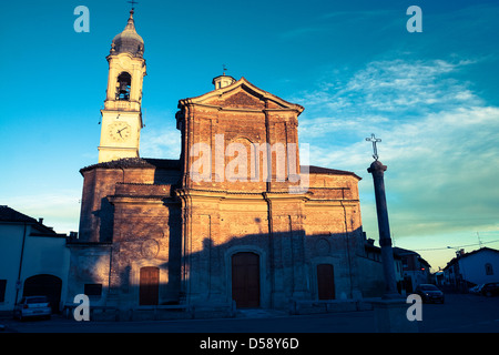 Looking in front at the church of Sant Antonio Abate church in the centre of Bereguardo - Stock Photo