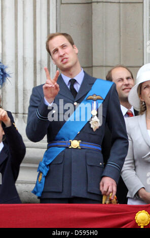 Britain's Prince William stands on the balcony of Buckingham Palace as they attend the Trooping the Colour ceremony - Stock Photo