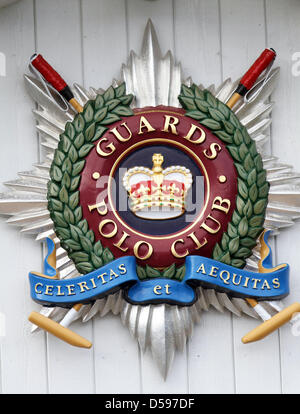Logo of the Guards Polo Club captured at the Harcourt Developments Queen's Cup at Guards Polo Club in Windsor Great - Stock Photo