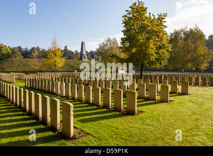 Polygon Wood, Ypres, Belgium: Early morning sunshine over Buttes New British Cemetery,   Australian Memorial in - Stock Photo