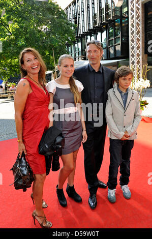 Danish actor Mads Mikkelsen, his wife Hanne Jacobsen (L), daughter Viola (2-L) and son Carl arrive to attend the - Stock Photo
