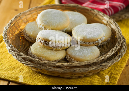 Alfajores South American cookies or biscuits - Stock Photo