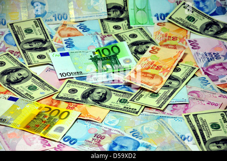 covered the floor of different currencies - Stock Photo