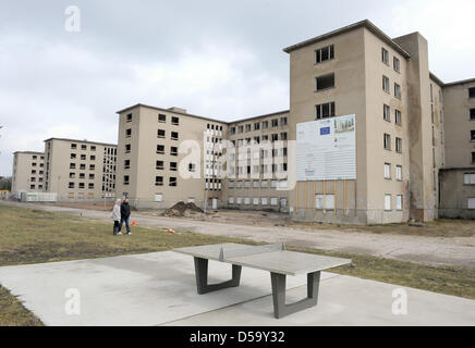 Block 5 of  listed building complex Prora, captured on Ruegen, Germany, 29 March 2010. State and federal government - Stock Photo