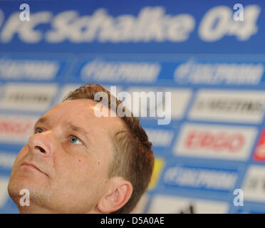 The new manager of the German soccer leaguer FC Schalke 04 Horst Heldt, talks during a press conference in Gelsenkirchen, - Stock Photo