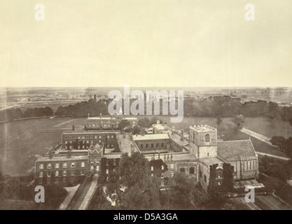 Cambridge. Jesus College, Bird's Eye View - Stock Photo