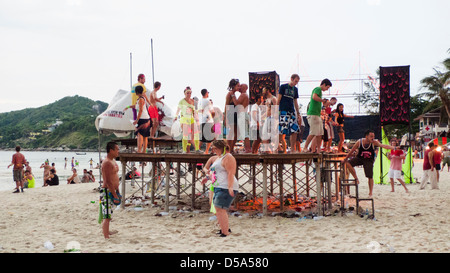 Morning after whole night full moon party in Koh Phangan of Thailand, 2011. - Stock Photo