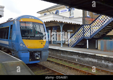 Woodbridge railway station on East Suffolk Line (Ipswich-Lowestoft) Greater Anglia train waiting at platform Woodbridge - Stock Photo