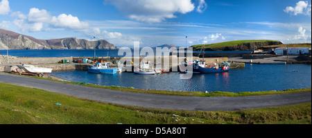 Fishing Boats at Purteen Harbour, Achill Island, Co Mayo, Ireland. - Stock Photo