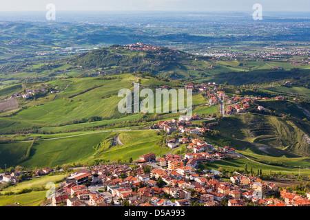 Modern San Marino Suburban districts and Italian hills view from above. Horizontal shot - Stock Photo