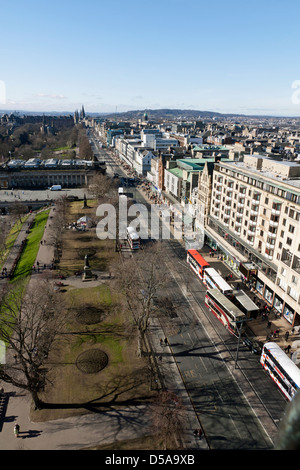 Princes Street Edinburgh from the top of the Scott Monument - Stock Photo