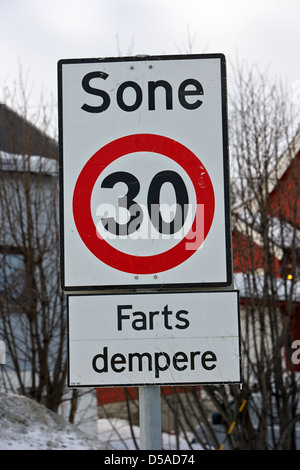 farts dempere bumpy road sign and 30 kph speed limit signs in norwegian kirkenes finnmark norway europe - Stock Photo