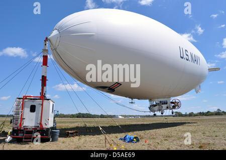 The US Navy airship MZ-3A moored at Fernandina Beach Municipal Airport March 26, 2013 in Fernandina, Florida. The - Stock Photo