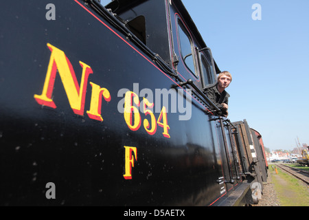 Kappeln, Germany, a steam railway locomotive Angelner - Stock Photo