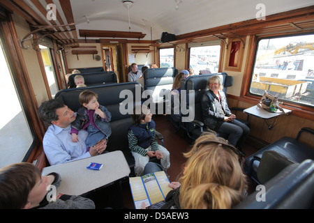 Kappeln, Germany, steam train in a compartment of a passenger car Angelner - Stock Photo