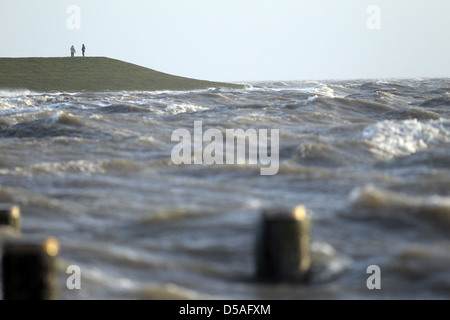 Dagebuell, Germany, storm surge in the North Sea - Stock Photo