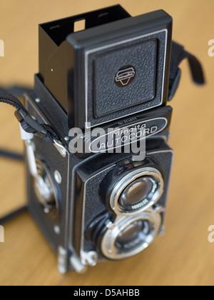 Minolta Autocord Twin Lens Reflex (TLR) old film camera - Stock Photo