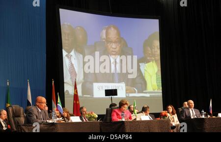 Durban, South Africa. 27th March 2013. South African President Jacob Zuma, Brazilian President Dilma Rousseff and - Stock Photo